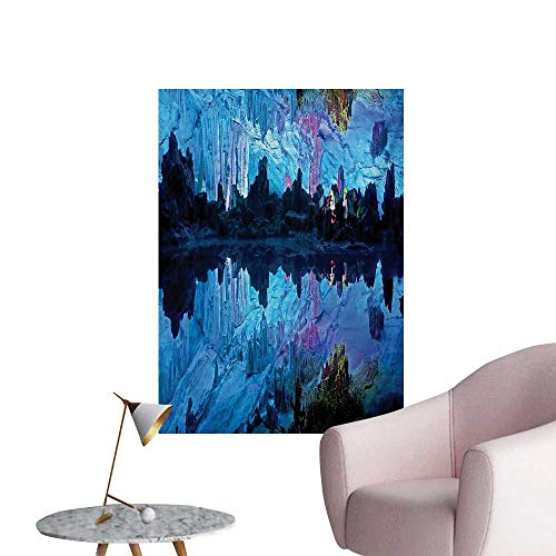 Anzhutwelve Natural Cave Art Decor Decals Stickers Illuminated Reed Flute Cistern with Artifical Crystal Palace Myst Cave Image PrintBlue W20 xL28 Wall Poster