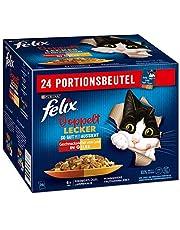 FELIX Zo goed als het eruit ziet, dubbel lekker, kattenvoer nat in gelei, variëteitenmix, verpakking van 4 (4 x 24 zakjes à 85 g)