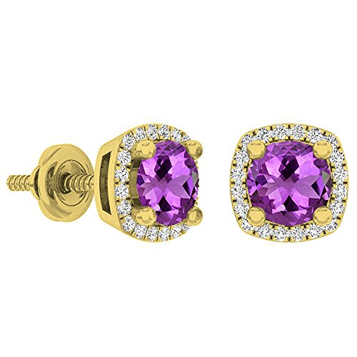 Dazzlingrock Collection 18K 5 MM Each Round Amethyst & White Diamond Ladies Halo Stud Earrings, Yellow Gold