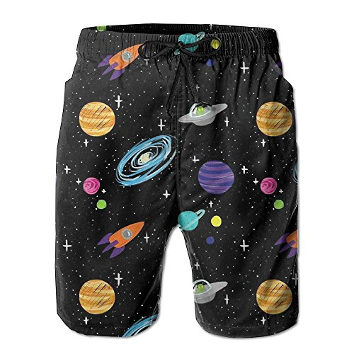 paceships Planets Men Surf Swim Trunk Pants Pocket (Nxl System)