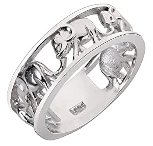 Sterling Silver Elephant Family Migration Ring 925 (Sizes 4-15, Color Options)