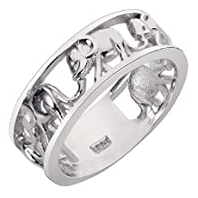 Elephant Migration Eternity Ring Sterling Silver 925 (Sizes 4-15)