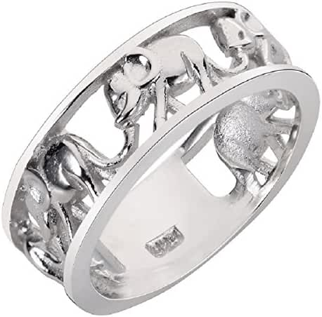 Sterling Silver Elephant Family Migration Ring 925 (Sizes 4-15)