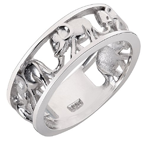 4 Finger Rings (Sterling Silver Elephant Family Migration Ring 925 Size 4)