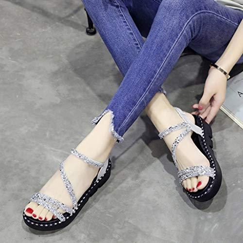 Wedge Beach Shoes Haut Chaussons À 2019 De Women Lanières Argent Filles Casual Femmes Eté Plates Chaussures Manadlian Compensé Talon Sandales Z0qxdaAwnZ