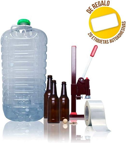 TAPAS & ENVASES RIOJA Kit para elaboracion de Cerveza artesana Pack fabricacion Cerveza Artesanal fabrica tu Propia Cerveza casera Incluye chapadora Botellas chapas Regalo de Etiquetas: Amazon.es: Hogar