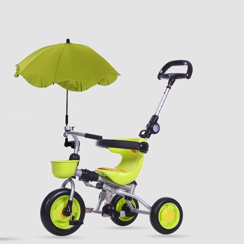 Triciclo de niños plegable Bicicleta Trolley Luz Bebé Bicicleta 1-5 años viejo carro de bebé (Color : Green)