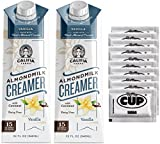 Califia Farms Coffee Creamer - Vanilla Flavored, Dairy Free Almondmilk with Coconut, 32 Ounce (Pack of 2) with By The Cup Sugar Packets