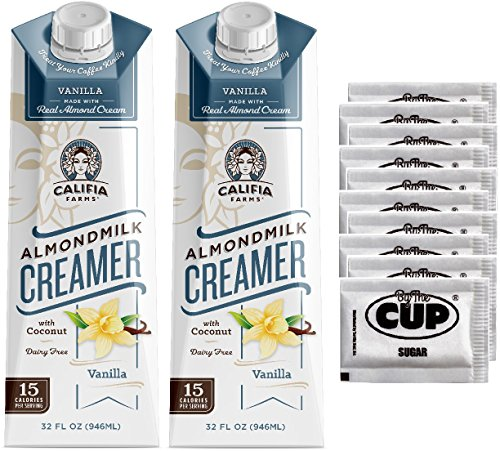 Califia Farms Coffee Creamer - Vanilla Flavored, Dairy Free Almondmilk with Coconut, 32 Ounce (Pack of 2) with By The Cup Sugar Packets by By The Cup