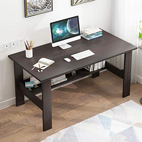 UIUYA 39 Inch Computer Laptop Desk with Sturdy with Storage Shelf,Modern Simple economical Style Home Desk Writing Desktop Small Space Desk (Blue)