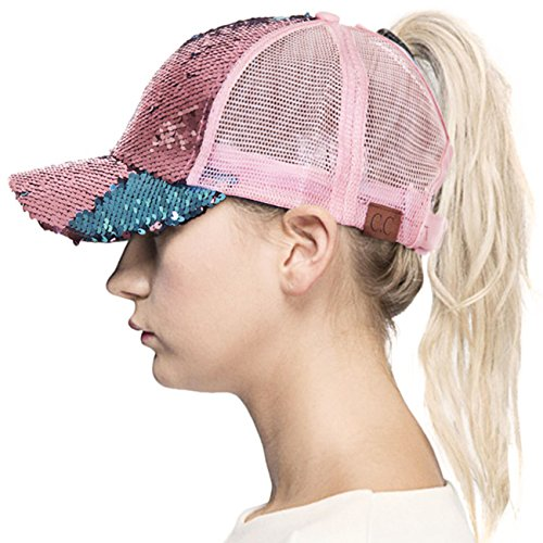 ScarvesMe C.C Ponytail Cap Messy Buns Trucker Plain Baseball Ponycap Hat (Magic Sequence Rose/Teal) -