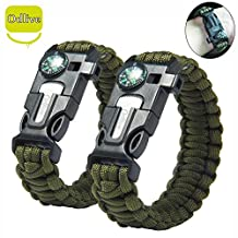 Odlive Survival Paracord Bracelet kit with Compass Flint Fire Starter Scraper knife Whistle for Ourdoor Hunting Hiking Camping Boating Fishing Emergency, Green 2pcs