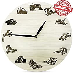 HV Store FARMING Non-Ticking Wooden Wall Clock