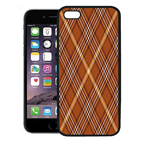(Semtomn Phone Case for iPhone 8 Plus case Cover,Brown Border Tartan Plaid Pattern Traditional Checkered for Digital Orange Check,Rubber Border Protective Case,Black)
