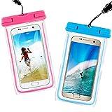 Aupek Universal Waterproof Bag [2 Pack] Outdoor Phone Case, Dust, Snow, Water Resistant Case for Apple iPhone 6/6S/6S Plus, Samsung Galaxy S7 S6 Note 5 4, HTC LG Sony Nokia Motorola (Pink & Blue)