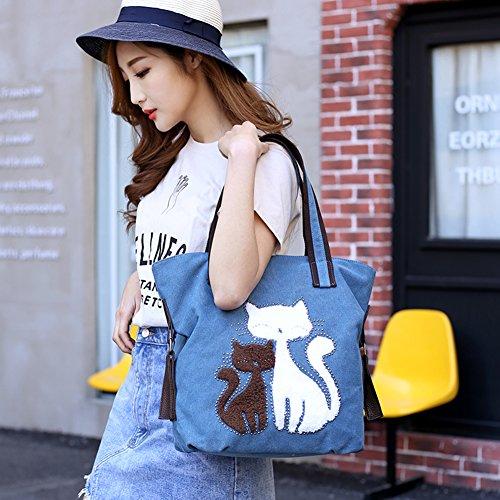 Style Women Canvas Women's Bag For Shopper ELEOPTION Blue Girls Shoulder Bag Vintage Brown Students M Simple Handbag Girl Cat Totes Hobo qPExdxwO4