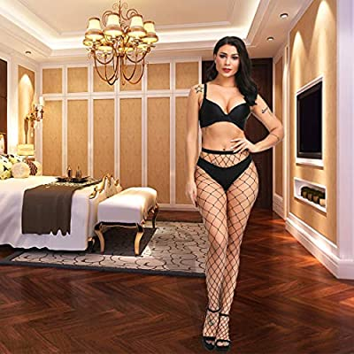 Valila High Waist Tights Fishnet Stockings Thigh High Stockings Pantyhose, Black Big Net, S-XXXL at Women's Clothing store