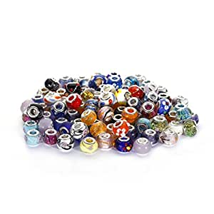 BRCbeads Top Quality 100Pcs Mix Silver Plate STYLE6 Murano Lampwork European Glass Crystal Charms Beads Spacers Fit Troll Chamilia Carlo Biagi Zable Snake Chain Charm Bracelets.