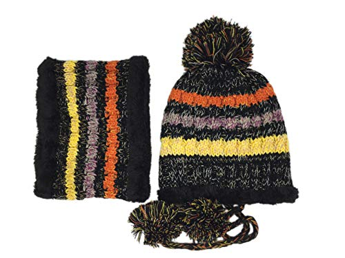 Snowflake Earflap Knit Hat - Bighand Cat 2-Pieces Slouchy Winter Hat Scarf Set Knit Soft Warm Earflap Hood Cozy Large Snowflake Beanie Hat for Women Girls (Colored Black)