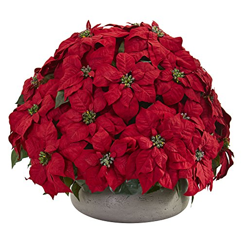 Nearly Natural 8196 Large Poinsettia Artificial Stone Planter Silk Plants Red