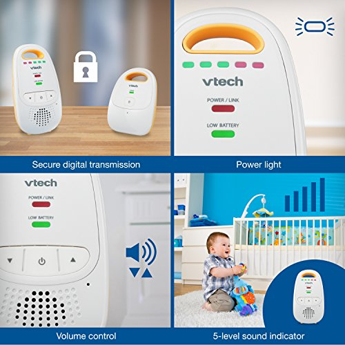 Large Product Image of VTech DM111 Audio Baby Monitor with up to 1,000 ft of Range, 5-Level Sound Indicator, Digitized Transmission & Belt Clip