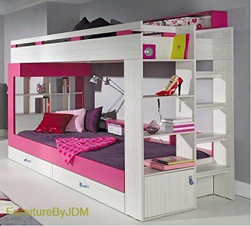 Cama alta o litera, de Komi (colchón no incluido) con cajones y combinación de estantes Escalera en la parte posterior: Amazon.es: Hogar