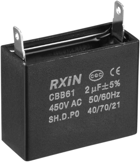 uxcell CBB61 Run Capacitor 450V AC 1.5uF Single Insert Metallized Polypropylene Film Capacitors for Ceiling Fan
