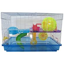 YML Clear Plastic Dwarf Hamster, Mice Cage with Color Accessories, Blue