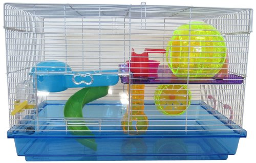 YML Clear Plastic Dwarf Hamster Mice Cage with Color Acce...
