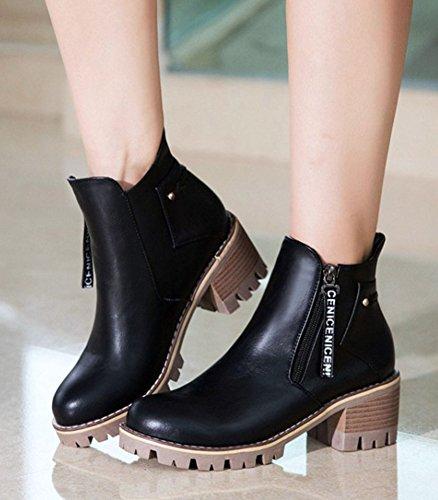 Chaussures automne à fermeture éclair noires Fashion femme TwFkA