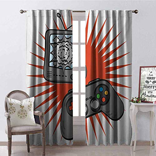 Boys Room Blackout Curtain Video Games Themed Design in Retro Style Gamepad Console Entertainment 2 Panel Sets W52 x L108 Inch Orange Grey White
