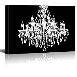 wall26 - Canvas Wll Art - Crystal White Chandelier on Black Background - Giclee Print and Stretched Ready to Hang - 24\