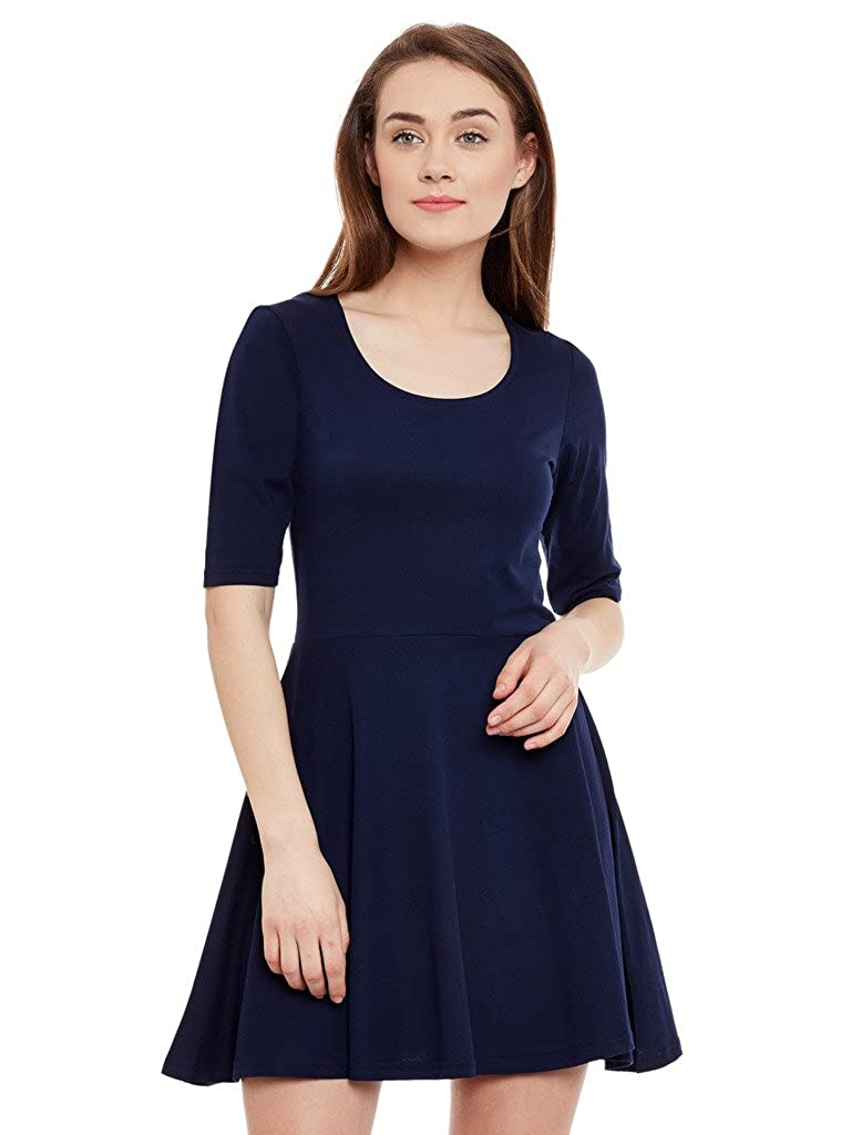 1db638aaba13 Miss Chase Womens Navy Blue Skater Dress  Amazon.in  Clothing   Accessories