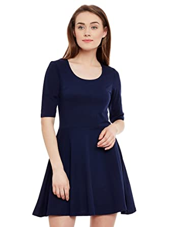 9c32a412e8 Miss Chase Womens Navy Blue Skater Dress  Amazon.in  Clothing ...