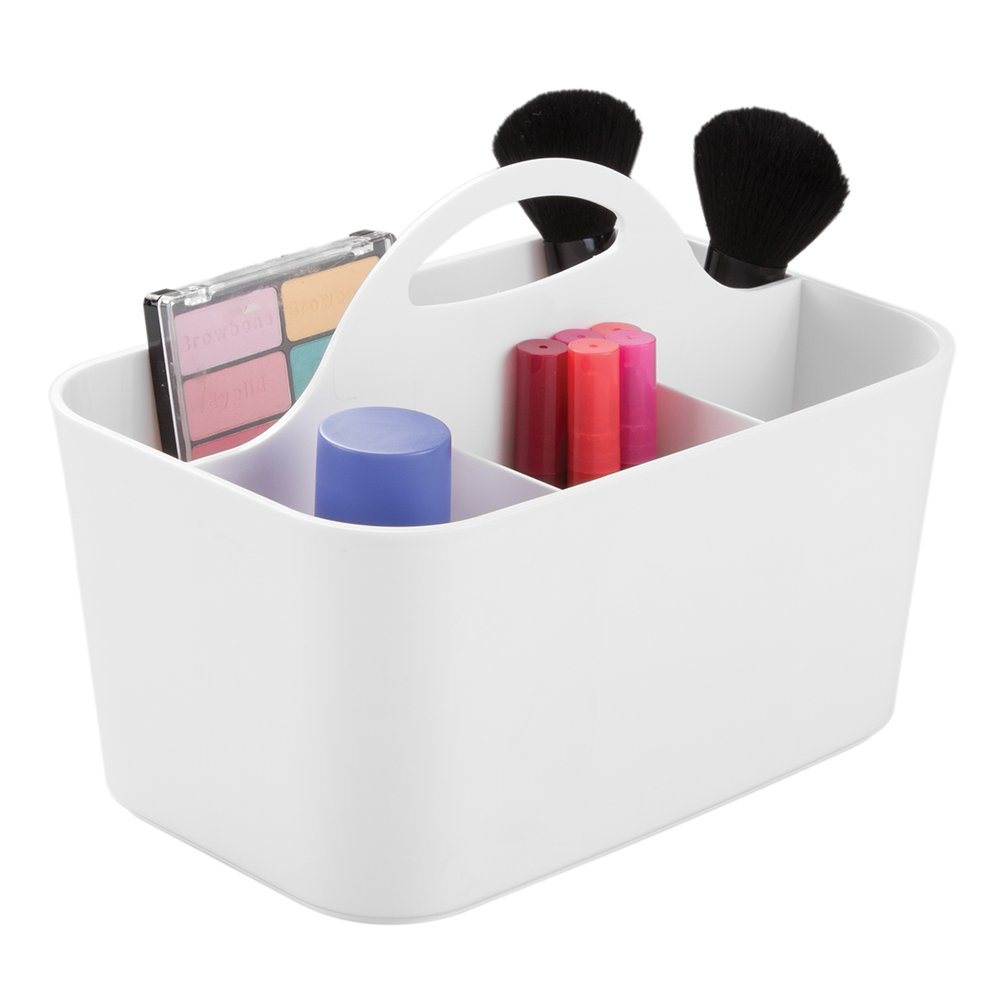 mDesign Plastic Portable Makeup Organizer Caddy Tote, Divided Basket Bin Handle Bathroom Storage - Holds Blush Makeup Brushes, Eyeshadow Palette, Lipstick - Small, White MetroDecor 0826MDC