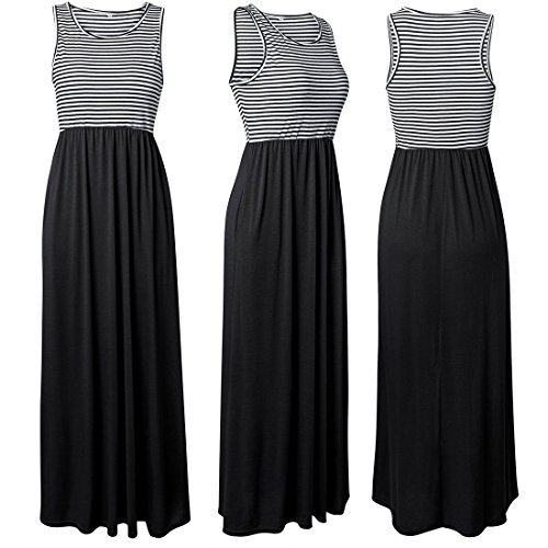 Sleeveless Moichien Ai Stripe Dresses Racerback Women's Pockets with Black Maxi Long Loose wt1Uq1