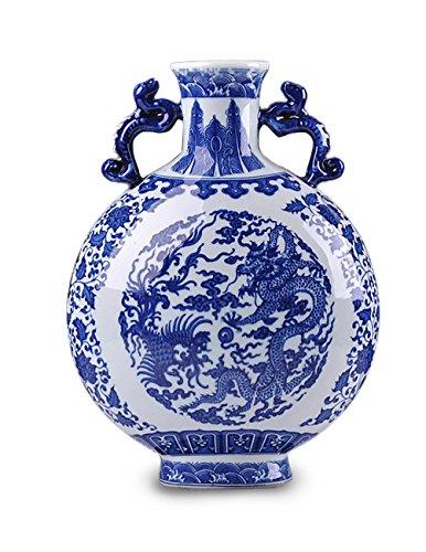Dahlia Chinese Dragon Motif Blue and White Porcelain Flower Vase, 12-Inch, Binaural Vase #8 Dragon Vase