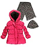 Pink Platinum Big Girls' Solid Puffer Coat with Cheetah Hat and Scarf