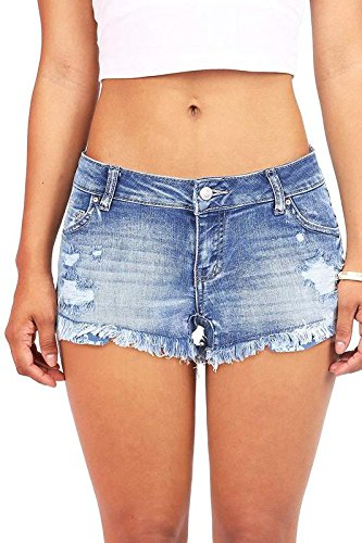 - Wax Women's Juniors Denim Shorts w Heavy Frayed Hem (L, Med)