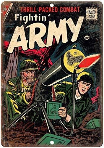 Fightin 'Army Septemberコミック 金属板ブリキ看板注意サイン情報サイン金属安全サイン警告サイン表示パネル