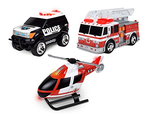 Toy Vehicles (Maxx Action Light and Sound Rescue Vehicles 3-pack: Helicopter, Police SUV, Fire Truck (Colors & Styles May)