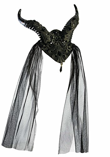Forum Novelties Demon Horns Fascinator Hair Clip with Lace and Gemstones, -