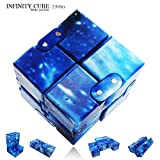 LIHJO New Fashion Interstellar Infinity Cube Fidget Cube Anti Stress Adults Kids Gift EDC for ADHD Funny Finger Toys 2.5(OU)Blue