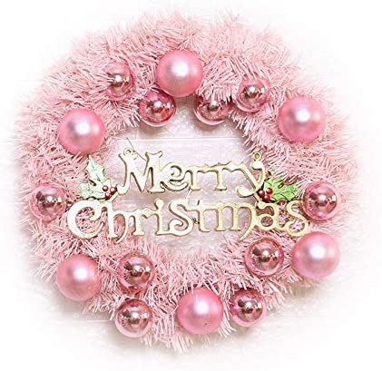 Christmas Wreath with Lights 40cm//15.7inch Pink Christmas Wreaths for Front Door Holiday Home Decor Xmas Wreath with Ball Ornament and Merry Christmas Sign