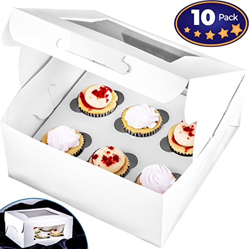 Pro-Quality Bakery Boxes for 6 Cupcakes with Display Window & Cupcake Inserts 10 Pack. Each USA Made, Bright White Box Showcases Your Cup Cakes. Easily Customized Carrier for Bake Sales! -