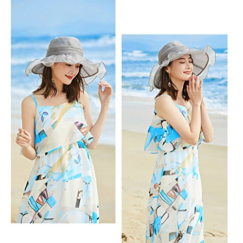 Suave Sombrero De Ancha Sol Mujeres Ajustable Summer Y Zml Anti Transpirable Color Claro Para Sólido Cap Beach Ala Damas niñas Gris Plegable Floppy Packable Paño Parasol uv Casual El Ztxq0