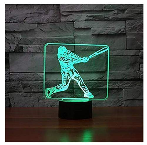3D Baseball Player Night Light Touch Table Desk Optical Illusion Lamps 7 Color Changing Lights Home Decoration Xmas Birthday ()