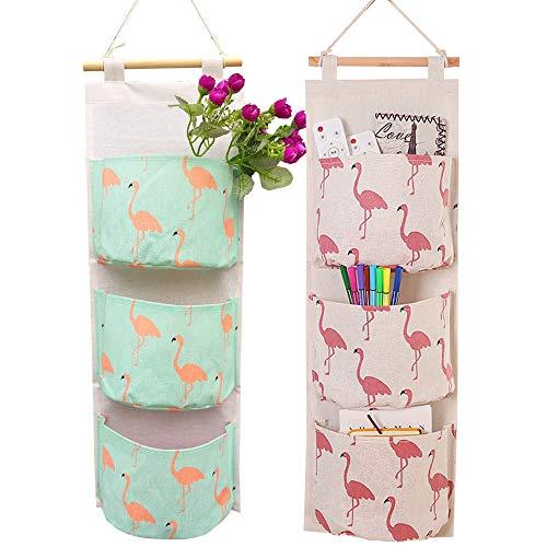 Amlrt 2 Packs 3 Layer Hanging Bag,Cotton and Hemp Storage Hang Bag, Flamingo Pattern Storage Organizer,Storage Hang Bag