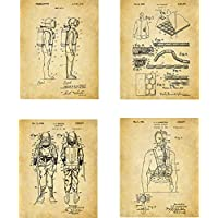 Scuba Diving Patent Wall Art Prints - set of Four (8x10) Unframed - wall art decor for divers