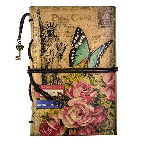 FX Classic Vintage Style Journal Writing Leather Refillable Spiral Notebook 7.3 x 5 Inches Perfect Gift as Art Sketchbook, Travel Diary Book (Blue-butterfly)